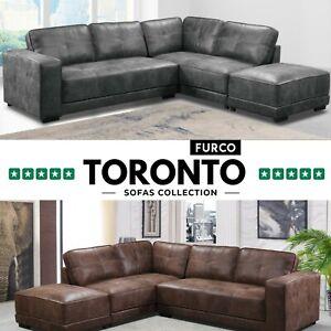 Toronto Large Leather Corner Sofa With Footstool | Tan Brown & Grey