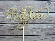 EIGHTEEN Cake Topper - Gold Glitter 18th birthday topper, birthday cake decor