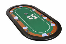 Champion Folding Poker Table Top in Green Speed Cloth 180cm with Leather Armrest