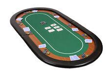 Campeón Plegable Póker Tapa de tabla en verde velocidad BAYETA 180cm Con Cuero