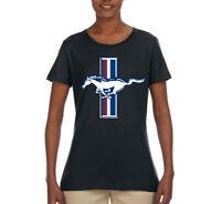 Ford Mustang Retro USA Vintage Logo Classic Bar Cars and Trucks Womens T-Shirt