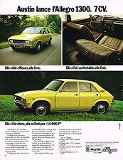 PUBLICITE ADVERTISING 084  1974  AUSTIN ALLEGRO 1300   7cv