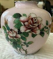 Japanese Silver Cloisonne Vase, Cloisons only on picture. Floral. Pink/Green/Red