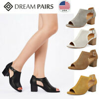 DREAM PAIRS Women's Low Cutout Heel Sandals Peep Toe Ankle Strap Dress Shoes