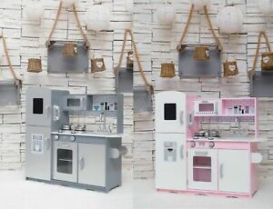 GALACTICA Wooden Pretend Play Kitchen with Utensil Toy Kids Cooking Role Play Se