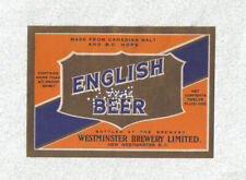 Beer label - Canada - English Type Beer - Westminster Bry. Ltd. - BC