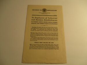 vintage 1936 Social Security Board – First Notice - US Government pamphlet