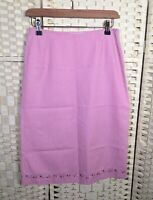 Paul & Joe Pink Gingham A-Line 100% Cotton Summer Skirt (38) 10 Embroidered Hem
