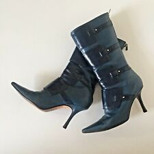JIMMY CHOO PETROL BLUE MID CALF ZIP UP ANKLE BOOTS STRAPS UK2.5 / 3 / EU36 VGC