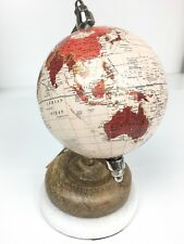 "Desk Spinning 8"" Globe W/ Marble & Board Base Made In India Decor Red/ brown New"