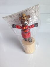 Wooden BEAR CANADIAN MOUNTIE RCMP Figurine, Press Button Puppet, Collapsing Toy