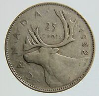 1952 Canada 25 cent quarter HIGH RELIEF coin is 80% silver