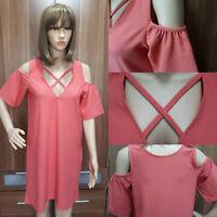 Ex River Island PINK cold shoulder SHIFT Dress Size 6 - 18