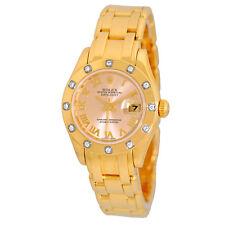 ROLEX 29mm 18K Yellow Gold Diamond Masterpiece Pearlmaster 80318 Box Warranty