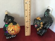 "Two (2) Slavic Treasures ""Cat/Lantern"" ""Scare D'Cat"" Halloween Ornaments"
