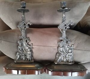 """PAIR OF VERY UNIQUE BRASS CANDLEHOLDERS FROM INDIA. 14"""" Height."""