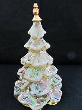 "Fenton Flocked Glass Yellow/Gold Christmas Tree 6 1/2"""