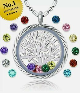 Mothers Day Gift Family Tree of Life Birthstone Necklace Jewelry Floating Charm