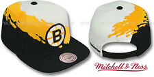 Bruins 'PAINTBRUSH SNAPBACK' White-Gold-Black Hats by Mitchell & Ness