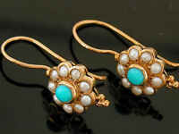 E106 Genuine 9ct SOLID Rose Gold NATURAL Turquoise & Pearl Blossom Earrings