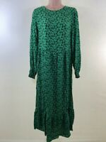 BNWOT NEXT green ditsy floral print long sleeve smock midi dress size 12 40