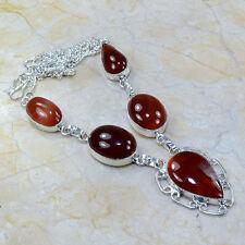 Natural Artesanal Cornalina Jaspe Plata de Ley 925 Collar 47.6cm A86232