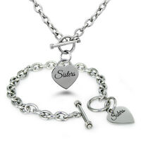 Stainless Steel Sisters Heart Tag Charm Bracelet, Necklace, Set