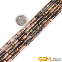 Natural Assorted Gemstone Loose Column Tube Beads For Jewelry Making 4x13mm YB