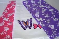 3 x 100% Cotton Tea Towels  Modern Colours  Pink, Purple & White Butterflies