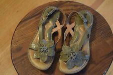 Born Green Leather Flower Sandals Shoes Women's US 6 M Comfort Heel Strap