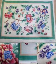 Handpainted OOAK Needlepoint Canvas Floral Signed Rug Jacobean 3 str 32x36