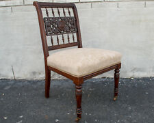 Walnut English Regency Vanity Chair Newly Upholstered & Restored
