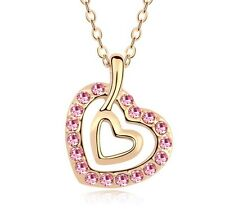 18K Gold GP made with SWAROVSKI Element Double Heart Pendant Necklace Pink