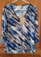 BLOOMS by Sylvia Dove Womens Stretch Knit Top BNWT Blue Multi Made in Australia