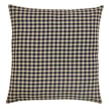 "Black Check Fabric Euro Pillow Sham 26X26"" Black / Khaki Check Cotton"