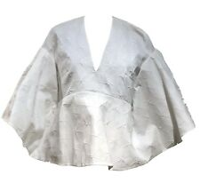 NEW, DELPOZO WHITE CAPE-STYLE CREPE BUBBLE BLOUSE, 36, $1650