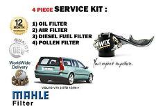 FOR VOLVO V70 2.5 TD 12/1996->NEW OIL AIR FUEL POLLEN 4 FILTER SERVICE KIT SET