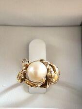 Amazing 14k Strell Strellman Pearl Diamond Lady Flower Leaves Ring