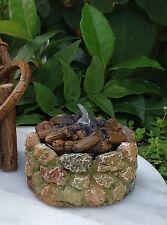 Miniature Dollhouse FAIRY GARDEN ~ Mini Stone Look Fire Pit w LED Tealight NEW