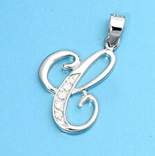 Alphabet Initial Pendant Sterling Silver 925 Cubic Zirconia Jewelry Letter C