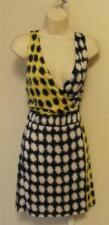 Diane von Furstenberg Moriko pow black yellow white silk sleeveless dress 6 New