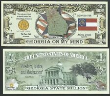 Lot of 100 - Georgia State Million Dollar Bill w Map, Seal, Flag, Capitol