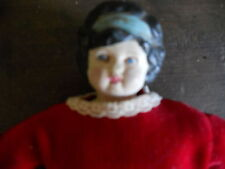 "Antique - Shoulder Head - Doll - Approx. 9 1/2"" Tall - Red Velvet Dress"