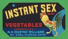 RARE ORIGINAL Instant Sex Brand 1940s Florida Fruit Crate Label Art to Frame