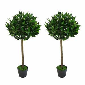 Pair of 90cm (3ft) Plain Stem Artificial Topiary Bay Laurel Ball Trees LEAF-7...