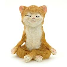 "CUTE MEDITATING CAT STATUE 3.75"" Yoga Lotus Pose Zen Kitty Resin Figurine NEW"