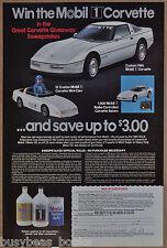 1986 MOBIL OIL advertisement, auto oil, Corvette Giveaway contest