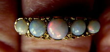 Vintage solid 9kt Yellow 9ct GOLD Opal Five Stone Ring Very Ornate Size P