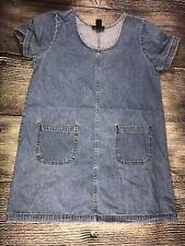 Denim Jean Dress Pockets 100% Cotton Vintage Size 14 Classics 1990's Grunge