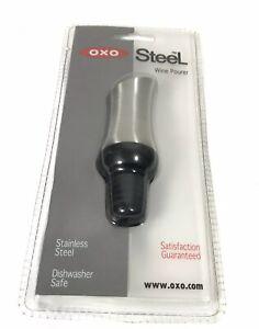 OXO Steel Wine Top to Pour Wine Sleek Design Silver Black Dishwasher Safe